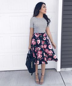 47 popular girly outfit ideas you should try floral skirt outfits, summer skirt outfits, Striped Skirt Outfit, Floral Skirt Outfits, Cute Skirt Outfits, Girly Outfits, Casual Outfits, Fashion Outfits, Floral Skirts, Midi Skirts, Summer Skirt Outfits