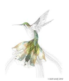 A3 SIZE Bec's Hummingbird -  kittensandcrumpets.
