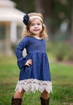 f0c20dff5d6 Country Chic Longsleeve Denim Dress