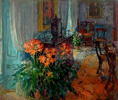Susan Ryder RP NEAC (b.1944) — Clivia in the Dining Room (800x776)