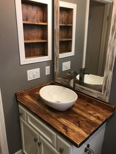12 Clever Initiatives of How to Improve Rustic Bathroom Vanity With Vessel Sink Accepting The wonderful motif in building the bathroom will be something great to do. One of a wonderful idea of it is that the Rustic Bathroom Vanity With Diy Bathroom Vanity, Rustic Bathroom Vanities, Vessel Sink Bathroom, Wood Bathroom, Bathroom Styling, Modern Bathroom, Bathroom Ideas, Small Bathroom, Wooden Bathroom Countertop