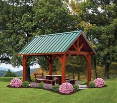 Pavillion/gazebo with metal roof and wood corners. Backyard Pavilion, Outdoor Pavilion, Backyard Retreat, Backyard Patio, Pergola Patio, Pergola Ideas, Wooden Pavilion, Glass Pavilion, Pavilion Design