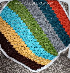 Crochet Blanket using the Blanket Stitch From Rescued Paw