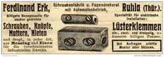 Original-Werbung/ Anzeige 1910 - LÜSTERKLEMMEN / FERDINAND ERK - RUHLA (THÜRINGEN) - ca. 90 x 30 mm