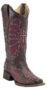Corral® Women's Dark Brown w/ Winged Cross Pink Inlay Square Toe Western Boot Cowgirl Style, Cowgirl Boots, Western Boots, Country Boots, Country Style, Cute Shoes, Me Too Shoes, Cavenders Boots, Boot City