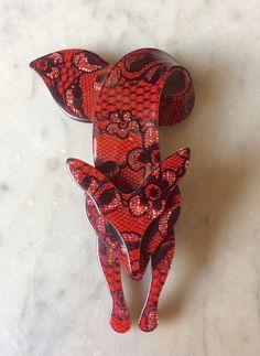 Lea Stein Paris Vintage FOX  brooch by DecoFashion on Etsy