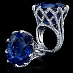Corte azul zafiro diamante anillo anillo de por blueriver47 en Etsy, $36782.00