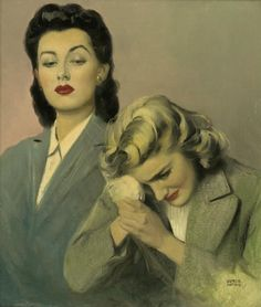 Illustrated by Andrew Loomis, who often worked in this desaturated, noirish color palette, virtually devoid of skin tone and in an underlit context.