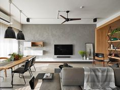 80 Smart Solution Small Apartment Living Room Decor Ideas And Remodel Apartment Interior, Apartment Design, Apartment Layout, Apartment Ideas, Living Room Tv, Home And Living, Small Living, Modern Living, Grey Feature Wall