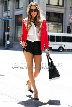 Red Appeal  #lace #square #bag #blouse #blazer