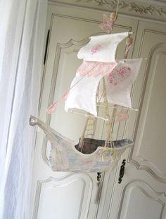 Sailing Ship in Papier Maché - Pink trim. $168.00, via Etsy. Origami, Paper Art, Paper Crafts, Diy Crafts, Boat Crafts, Art Projects, Projects To Try, Papier Diy, Ann Wood