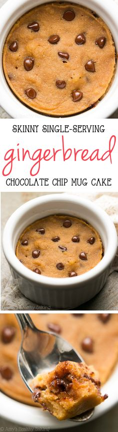 Skinny Single-Serving Chocolate Chip Gingerbread Mug Cake -- an easy recipe that. - Skinny Single-Serving Chocolate Chip Gingerbread Mug Cake — an easy recipe that's healthy enoug - Healthy Food List, Healthy Baking, Healthy Desserts, Delicious Desserts, Mug Recipes, Cake Recipes, Dessert Recipes, Recipies, Chocolate Chip Mug Cake