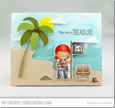 Party Like a Pirate stamp set and Die-namics, Beach Scene Builder Die-namics, Ocean Waves Die-namics - Barbara Anders #mftstamps