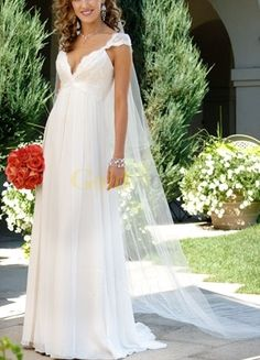 [US$189.99] Sheath Column V-Neck Empire Waist Lace Beading Satin Chiffon Wedding Dress