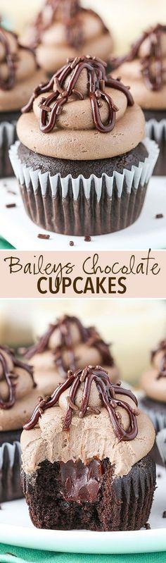 Baileys Chocolate Cupcakes! Chocolate cupcake, baileys ganache filling and Baileys frosting! So good! by katherine