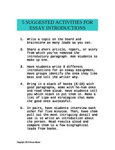 Middle to high school. Suggested activities for writing better essay introductions.  Free