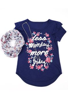 """Big Girls 3 Piece Clothing Set - Graphic Tee Scarf and Necklace Set Navy L. Big Girls 3 Piece Set: graphic tee printed floral woven infinity scarf and butterfly necklace for girls age 7-16 years old. Machine washable. 100% polyester. Chest - 13.5"""" Front Length - 19.5"""" Back Length 21"""" (Measured On Size Small). Size Reference: S(7/8) M(10/12) L(14) XL(16)."""