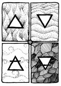 Four Element Symbols - Ink ACEO