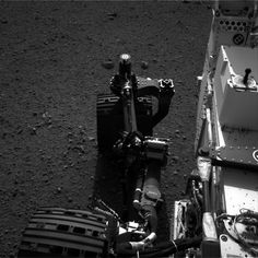 The movement of rear right wheel of NASA's Curiosity as rover drivers turn the wheels in place at the landing site on Mars