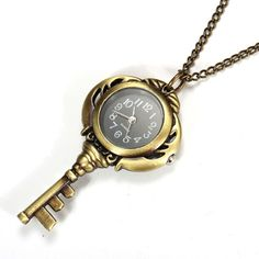 Sale 17% (3.79$) - Necklace Key Shape Quartz Chain Pocket Watch