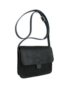 Kate Sheridan Small Tab Bag In Black: The Kate Sheridan Small Tab Bag is a simple pared back design featuring in tan tumbled leather with a tan bridle adjustable strap. Can be worn over the shoulder or as a cross-body. A perfect every day staple.