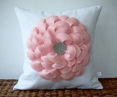 Large Pastel Pink Flower Pillow in White Linen with Gray Button Center by JillianReneDecor Nursery Decor Gift for Her Floral Spring Pastel
