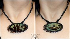 If ur a Tim Burton, Alice in wonderland or The nightmare before Christmas fan then this double sided necklace is the one for u ;) A unique statement piece brought to u by MeeM Handmade in collaboration with the talented MESS-art For orders, design and price please send us a message :)