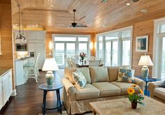 Traditional Lake Cottage Design, Pictures, Remodel, Decor and Ideas - page 34 Cottage Living Rooms, Cottage Interiors, My Living Room, Knotty Pine Decor, Knotty Pine Walls, Knotty Pine Living Room, Knotty Pine Kitchen, Girls Bedroom, Bedrooms