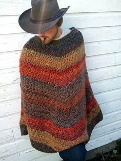 Do you want a poncho with a little more room and style? This larger-sized pattern is great for guys and gals both! The v-styling is both slimming and stylish and the soft Homespun yarn guarantees that this will become a cool-weather favorite. (Lion Brand Yarn)