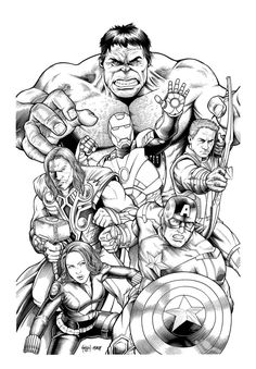 Free coloring page coloring-adult-avengers-hulk. Coloring page of the Avengers, difficult to color : Hulk with Iron Man, Thor, Captain America, Black Widow...