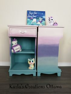 Ombré style painted night tables with ASCP products Ottawa, Night Table, Toy Chest, Storage Chest, Unicorn, Creations, Tables, Toys, Furniture