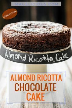 delicious Gluten-free Almond Ricotta Chocolate Cake is perfect for any special occasion. It's moist, dense, flavourful, and healthy. It's filled with healthy ricotta and almonds, has very little sugar and no oil or butter. It's also naturally Gluten-Free Desserts Keto, Just Desserts, Delicious Desserts, Dessert Recipes, Dinner Recipes, Italian Desserts, Lemon Desserts, Delicious Chocolate, Gluten Free Sweets