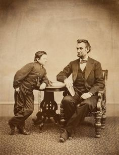Tad with Abe.  Photo by Alexander Gardner, February 5,1865