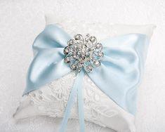 Ring Holder Wedding, Ring Pillow Wedding, Wedding Pillows, Bow Pillows, Ring Pillows, Wedding Symbols, Something Blue Wedding, Lace Ring, Blue Bow