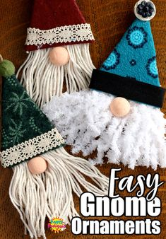 These adorable gnome Christmas tree ornaments are easy to make using cardboard, fabric scraps and a glue gun. Great 30 minute craft for tweens, teens or even grown-ups! for tweens Easy Gnome Ornaments Gnome Ornaments, Christmas Ornament Crafts, Christmas Crafts For Kids, Holiday Crafts, Christmas Diy, Christmas Fabric Crafts, Christmas Tree Decorations To Make, Handmade Christmas Crafts, Homemade Xmas Decorations