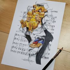 Ursula Doughty Draw Cartoon Characters on Music Sheet.|CutPaste Studio| Art, Artist, Artwork, Illustrations, Entertainment, beautiful,creativity, drawings, Paintings, Music Sheet