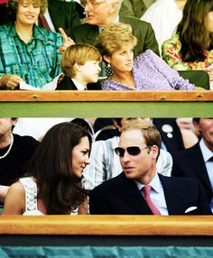Prince William at Wimbledon with his mother, Princess Diana, in 1991 and twenty years later with his wife, Kate Middleton, in 2011.