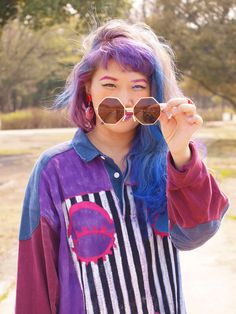 Kanaho's show!: VINTAGE FASHION OCTAGONAL GEOMETIC METAL SUNGLASSES 8942