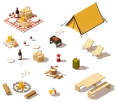 Buy Isometric Low Poly Camping Equipment by on GraphicRiver. Vector isometric low poly picnic and camping equipment set Isometric Drawing, Isometric Design, 3d Modellierung, Camping World Stadium, Camping Near Me, Camping Gear, Van Camping, Camping Chairs, Yosemite Camping