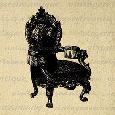 Digital Printable Antique Chair Graphic Illustration Image Download Vintage Clip Art Jpg Png Eps 18x18 HQ 300dpi No.1597 @ vintageretroantique.etsy.com
