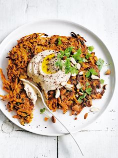 sweet potato fritters with hummus and almonds
