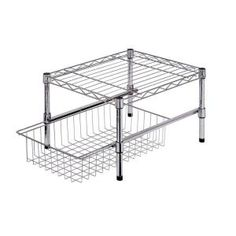 Honey-Can-Do 11 in. H x 12 in. W x 18 in. D Sturdy Adjustable Steel Shelf with Basket Cabinet Organizer in Chrome SHF-03525 at The Home Depot - Mobile