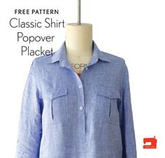 Ever wanted to sew the Liesl + Co. Classic Shirt as a pop-over instead of button-front style? Now you can with this free popover placket pattern piece and tutorial.