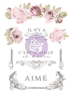 Re-Design Decor Transfers Re-Design with Prima – 3 Monkeys Home Accents Vintage Country, Vintage Decor, Shabby Chic Furniture, Painted Furniture, Floral Furniture, Rustic Furniture, Shabby Chic Crafts, Old Frames, Milk Paint