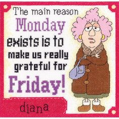 "Aunty Acid Grateful For Friday Counted Cross Stitch Kit-8""X8"" 14 Count"