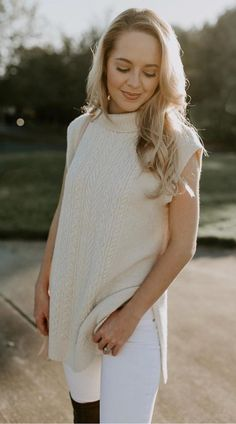 #winter #outfits beige turtle-neck knit sleeveless shirt