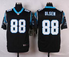 Men's Nike Carolina Panthers #88 Greg Olsen Black Elite Jersey