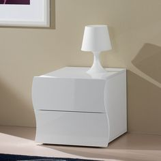 Comodino in melaminico 50x40xh42 cm ONDA laccato bianco Lucido in kit di montaggio | Tecnos Arredamento | Stilcasa.Net: cassettiere componibili