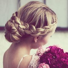 beautiful crown braid & bun from inspobyelvirall, perfect hairdo for a wedding