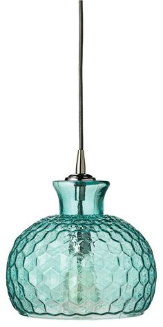 jamie young clark pendant - An aqua honeycomb patterned glass shade adds a chic touch of color to this design. This light fixture makes a sensational accent on its own or in multiples.